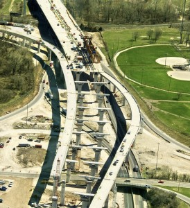 Aerial view of highway under construction